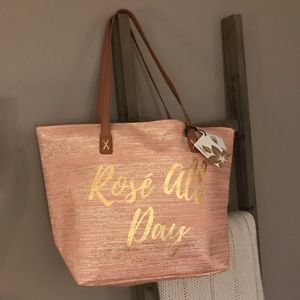 Rosé All Day Metallic Straw Tote Bag